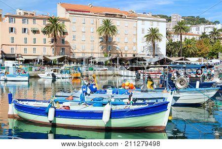 The colorful fishing boat in Ajaccio port, Corsica island, France.