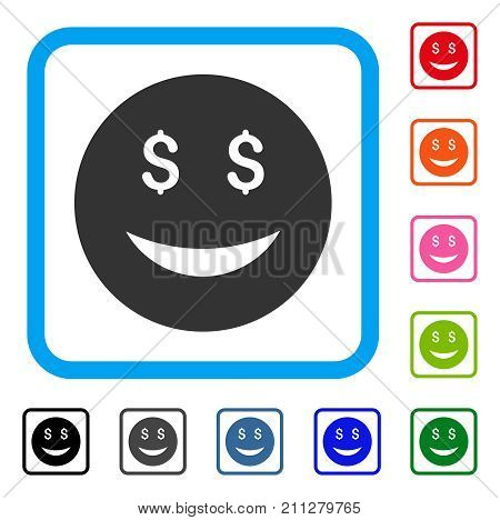 Luck Dollar Smiley icon. Flat gray pictogram symbol in a blue rounded squared frame. Black, gray, green, blue, red, orange color versions of Luck Dollar Smiley vector. Designed for web and app UI.