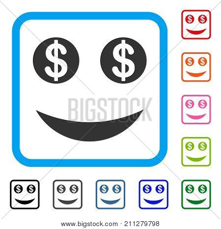 Lucky Dollar Smile icon. Flat gray iconic symbol inside a blue rounded frame. Black, gray, green, blue, red, orange color versions of Lucky Dollar Smile vector.