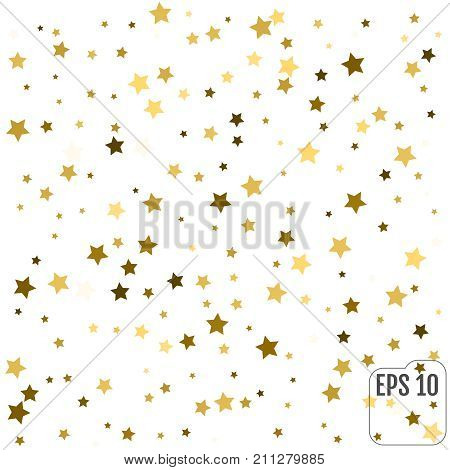 Gold Yellow Starry Background. Vector Confetti Star Background P
