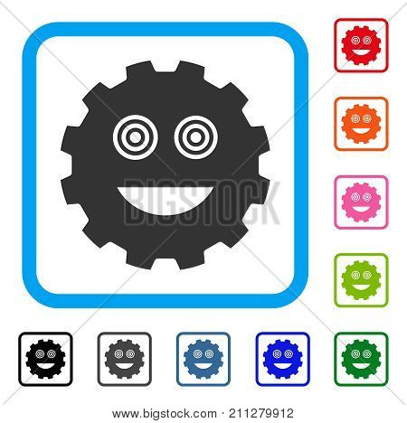 Mad Smiley Gear icon. Flat gray iconic symbol in a blue rounded squared frame. Black, gray, green, blue, red, orange color additional versions of Mad Smiley Gear vector.
