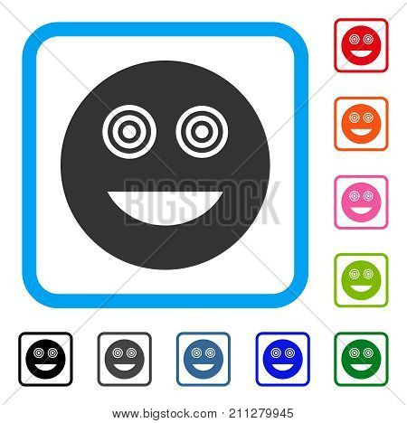 Mad Smiley icon. Flat grey pictogram symbol in a blue rounded square. Black, gray, green, blue, red, orange color variants of Mad Smiley vector. Designed for web and application user interface.