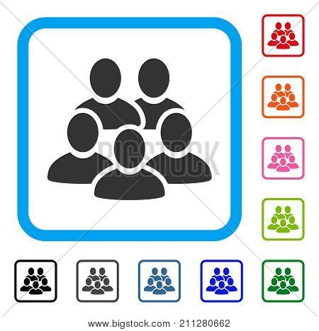 Men Collective icon. Flat gray iconic symbol in a blue rounded rectangle. Black, gray, green, blue, red, orange color versions of Men Collective vector. Designed for web and app user interface.