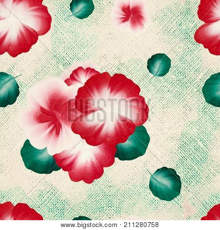 A seamless pattern with gouache one stroke painting on the canvas. Hand drawn gouache folk flowers and leaves
