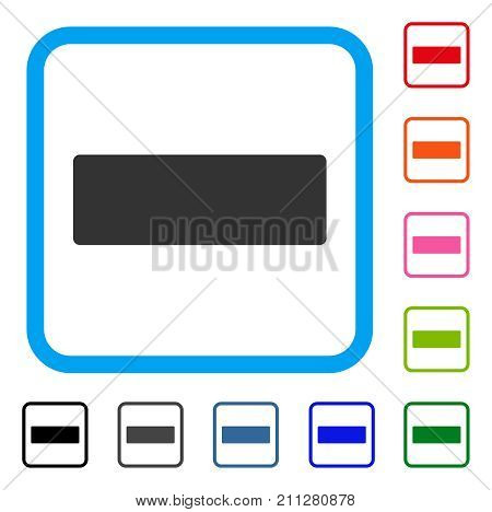Minus icon. Flat grey iconic symbol in a blue rounded rectangular frame. Black, gray, green, blue, red, orange color versions of Minus vector. Designed for web and app user interface.