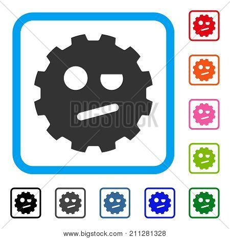 Negation Smiley Gear icon. Flat grey iconic symbol in a blue rounded square. Black, gray, green, blue, red, orange color versions of Negation Smiley Gear vector.