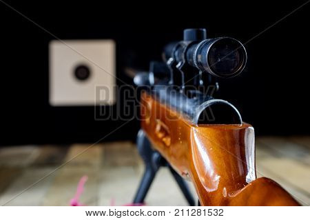 Shooting, Pneumatic Weapon With Shield And Shotgun At The Shooting Range