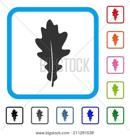 Oak Leaf icon. Flat gray iconic symbol in a blue rounded frame. Black, gray, green, blue, red, orange color variants of Oak Leaf vector. Designed for web and app user interface.