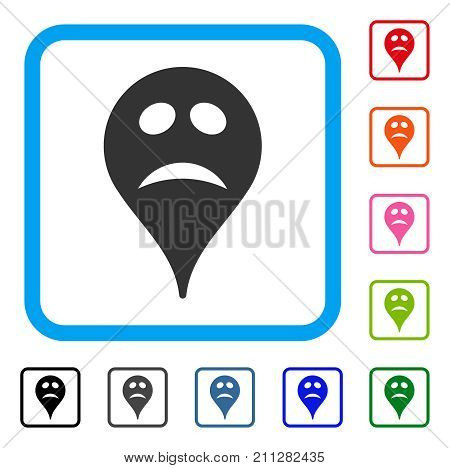 Pity Smiley Map Marker icon. Flat gray pictogram symbol in a blue rounded frame. Black, gray, green, blue, red, orange color variants of Pity Smiley Map Marker vector.