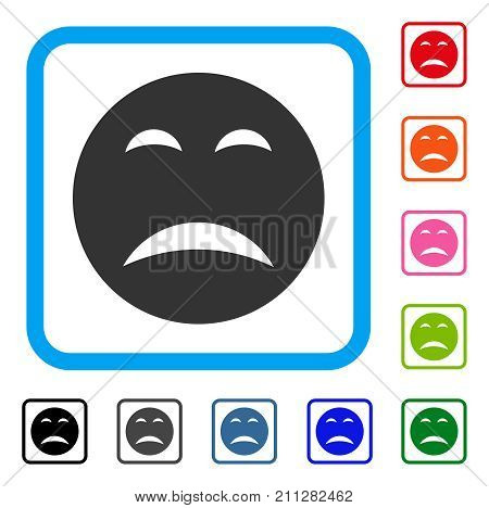 Pity Smiley icon. Flat grey iconic symbol in a blue rounded frame. Black, gray, green, blue, red, orange color additional versions of Pity Smiley vector.