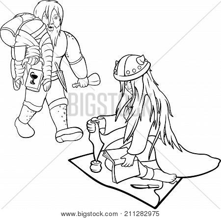 Two vector black contours of healers on white background