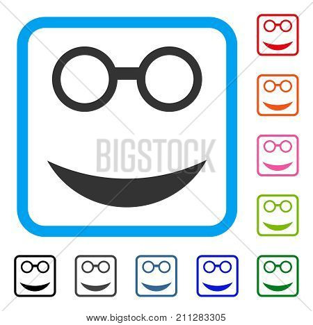 Professor Smile icon. Flat gray pictogram symbol in a blue rounded rectangle. Black, gray, green, blue, red, orange color versions of Professor Smile vector. Designed for web and app interfaces.