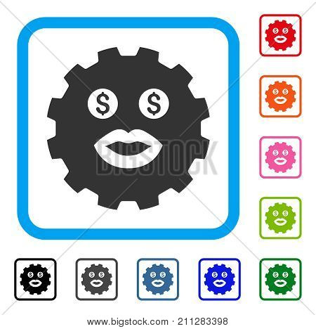 Prostitute Smiley Gear icon. Flat gray pictogram symbol in a blue rounded square. Black, gray, green, blue, red, orange color versions of Prostitute Smiley Gear vector. Designed for web and app UI.
