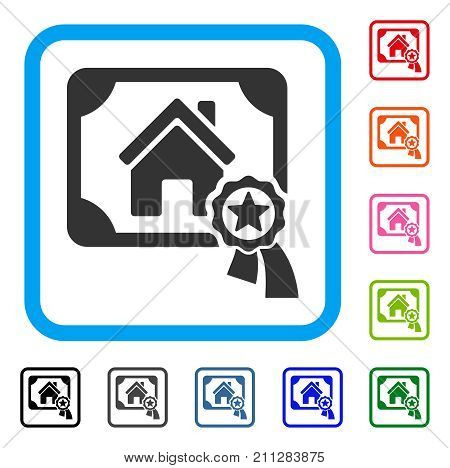 Realty Certification icon. Flat gray iconic symbol in a blue rounded frame. Black, gray, green, blue, red, orange color variants of Realty Certification vector.