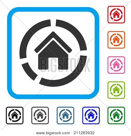 Realty Diagram icon. Flat grey iconic symbol inside a blue rounded squared frame. Black, gray, green, blue, red, orange color versions of Realty Diagram vector.
