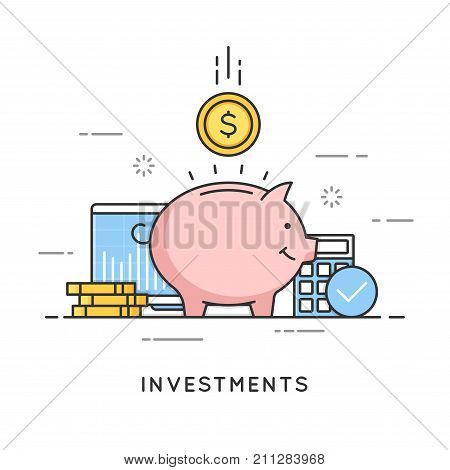Investments, money savings, budget management, financial profit. Flat line art style concept. Vector banner, icon, illustration Editable stroke