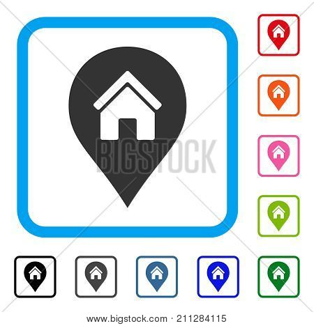 Realty Map Marker icon. Flat grey iconic symbol in a blue rounded rectangle. Black, gray, green, blue, red, orange color additional versions of Realty Map Marker vector.
