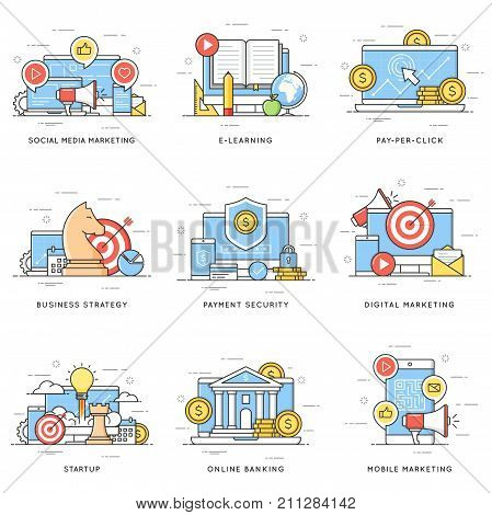 Social media, digital and mobile marketing, e-learning, pay-per-click, business strategy, payment security, startup, online banking. Flat line art style concepts. Editable stroke.
