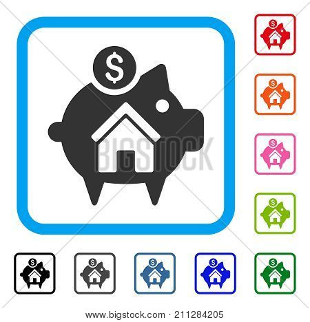 Realty Piggy Bank icon. Flat grey iconic symbol in a blue rounded rectangular frame. Black, gray, green, blue, red, orange color versions of Realty Piggy Bank vector.