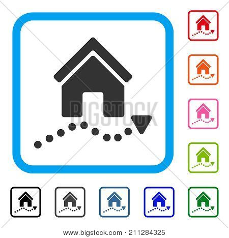 Realty Trend icon. Flat grey iconic symbol in a blue rounded frame. Black, gray, green, blue, red, orange color additional versions of Realty Trend vector.