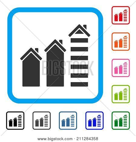 Realty Trend icon. Flat grey iconic symbol in a blue rounded frame. Black, gray, green, blue, red, orange color additional versions of Realty Trend vector. Designed for web and application UI.