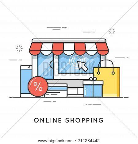 Online shopping, e-commerce. Flat line art style concept. Vector banner, icon, illustration. Editable stroke