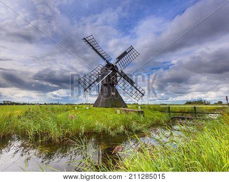 Historic Dutch Wooden Windmill