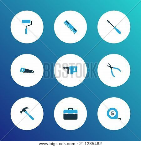 Handtools Colorful Icons Set. Collection Of Handsaw, Ruler, Round Pliers Elements