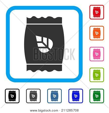 Seed Pack icon. Flat gray iconic symbol in a blue rounded frame. Black, gray, green, blue, red, orange color additional versions of Seed Pack vector. Designed for web and software UI.