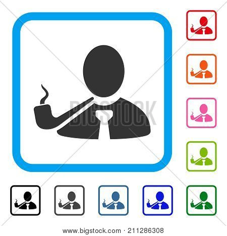 Smoking Detective icon. Flat grey pictogram symbol inside a blue rounded square. Black, gray, green, blue, red, orange color additional versions of Smoking Detective vector.