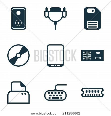 Computer Icons Set. Collection Of Power Generator, Cellphone, Vga Cord And Other Elements
