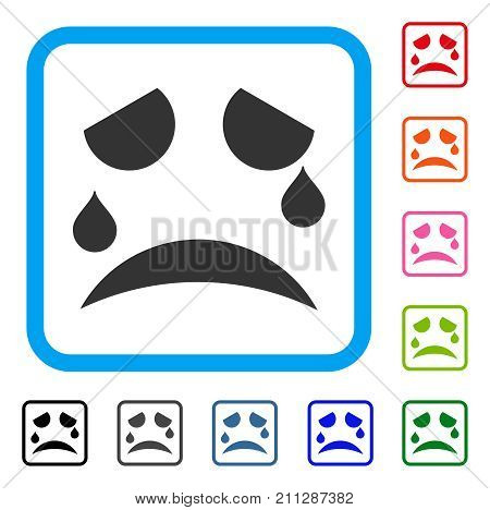 Tears Smile icon. Flat gray pictogram symbol in a blue rounded rectangular frame. Black, gray, green, blue, red, orange color variants of Tears Smile vector. Designed for web and app user interface.