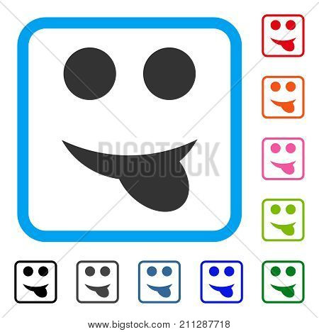 Tongue Smile icon. Flat gray pictogram symbol in a blue rounded rectangle. Black, gray, green, blue, red, orange color variants of Tongue Smile vector. Designed for web and software UI.