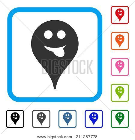 Tongue Smiley Map Marker icon. Flat gray pictogram symbol inside a blue rounded rectangular frame. Black, gray, green, blue, red, orange color additional versions of Tongue Smiley Map Marker vector.