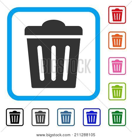 Trash Can icon. Flat grey pictogram symbol inside a blue rounded frame. Black, gray, green, blue, red, orange color versions of Trash Can vector. Designed for web and software user interface.