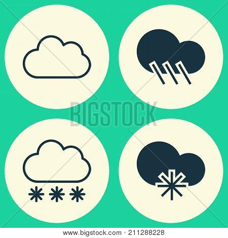 Nature Icons Set. Collection Of Cloud, Raindrop, Snowstorm And Other Elements