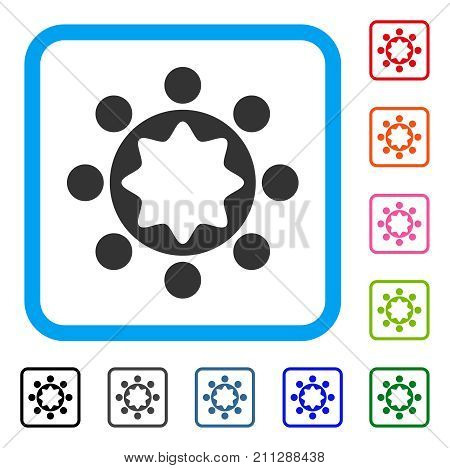 Union Corporation icon. Flat grey pictogram symbol in a blue rounded rectangle. Black, gray, green, blue, red, orange color additional versions of Union Corporation vector.
