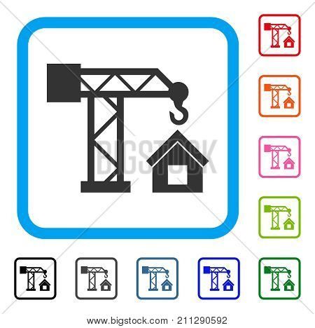 Crane House Building icon. Flat gray iconic symbol in a blue rounded frame. Black, gray, green, blue, red, orange color versions of Crane House Building vector. Designed for web and app interfaces.