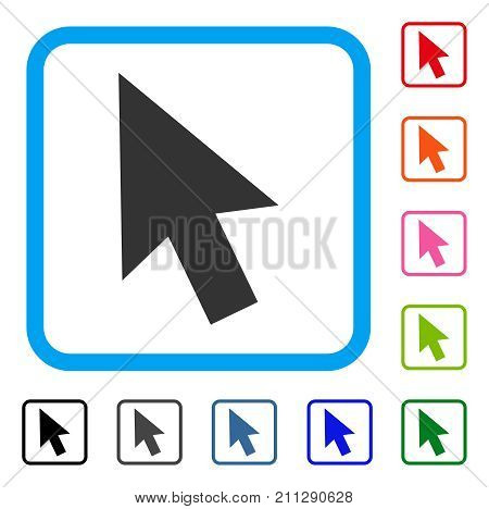 Cursor Arrow icon. Flat grey pictogram symbol in a blue rounded rectangular frame. Black, gray, green, blue, red, orange color versions of Cursor Arrow vector. Designed for web and app interfaces.