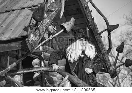 Old druid man with long silver hair and beard in black Halloween hat stands outdoors on sunny day on log house background