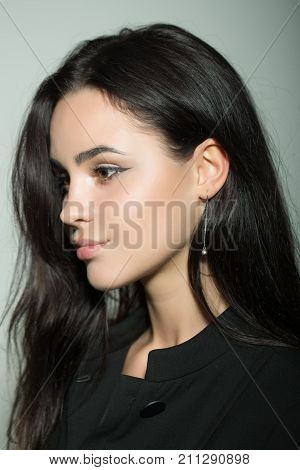 Woman With Long Brunette Hair Hairstyle