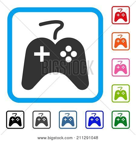 Game Pad icon. Flat gray iconic symbol in a blue rounded square. Black, gray, green, blue, red, orange color versions of Game Pad vector. Designed for web and software interfaces.
