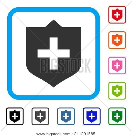 Shield icon. Flat gray pictogram symbol inside a blue rounded square. Black, gray, green, blue, red, orange color additional versions of Shield vector. Designed for web and application user interface.