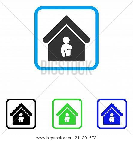 Bordel icon. Flat gray pictogram symbol inside a blue rounded square. Black, green, blue color variants of Bordel vector. Designed for web and software user interface.