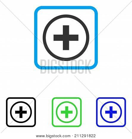 Add icon. Flat gray iconic symbol in a blue rounded frame. Black, green, blue color versions of Add vector. Designed for web and software UI.