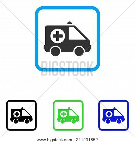 Ambulance Van icon. Flat gray pictogram symbol in a blue rounded squared frame. Black, green, blue color variants of Ambulance Van vector. Designed for web and software interfaces.