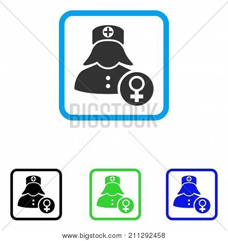 Gynecology Lady Doctor icon. Flat gray iconic symbol inside a blue rounded squared frame. Black, green, blue color versions of Gynecology Lady Doctor vector.
