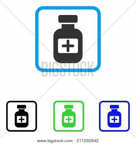 Medication Phial icon. Flat grey pictogram symbol inside a blue rounded rectangle. Black, green, blue color variants of Medication Phial vector. Designed for web and application user interface.