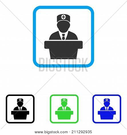 Official Doctor Tribune icon. Flat gray pictogram symbol in a blue rounded rectangular frame. Black, green, blue color variants of Official Doctor Tribune vector. Designed for web and application UI.