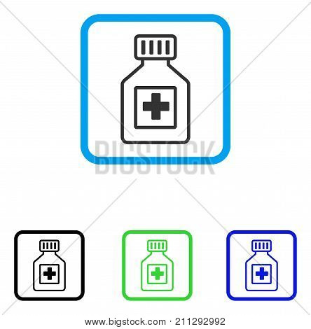 Pharmacy Vial icon. Flat grey iconic symbol inside a blue rounded rectangular frame. Black, green, blue color variants of Pharmacy Vial vector. Designed for web and app UI.